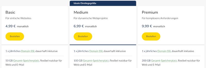 Webhosting Vergleich: Host Europe Tarife