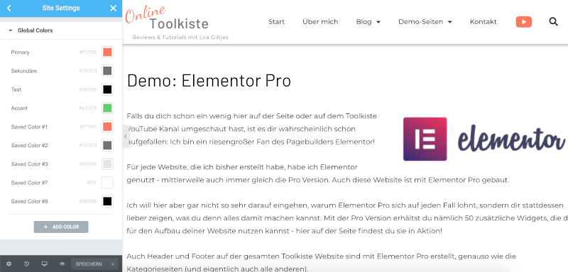 Elementor 3.0 Global Colors