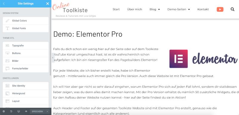 Elementor 3.0 Site Settings