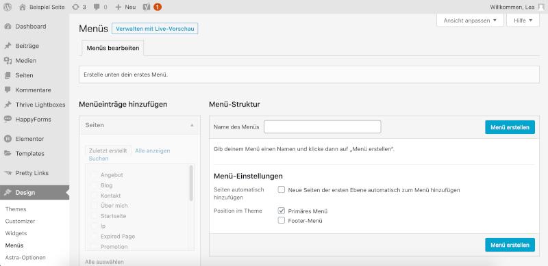 Neues WordPress Menü erstellen