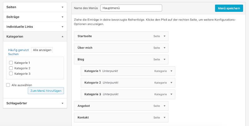 WordPress Menü: Unterpunkte hinzufügen